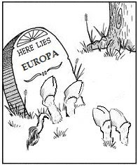 Here lies Europa grafsteen van ezel