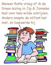 joch tussen boekenstapels = tekst Jip & Janneke