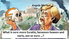 Merkel met Euroschedel + tekst Hamlet