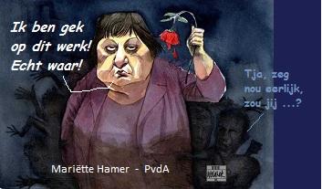 Mariet Hamer met roos en tekst